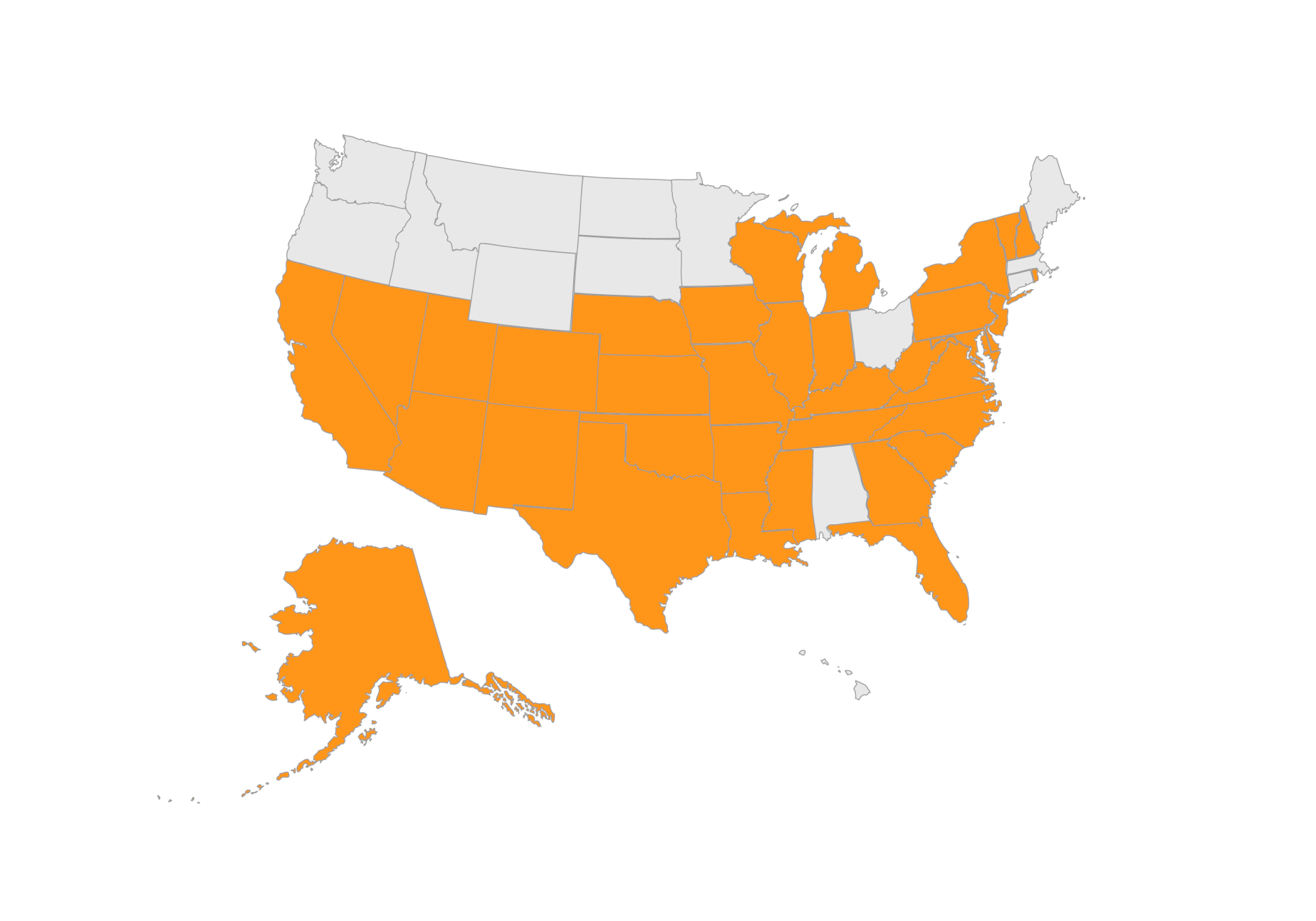 Pie Insurance State Coverage Map